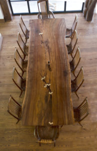 Custom dining table handcrafted w/ live edges for 12 people