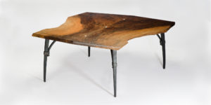 Handmade live edge coffee table w/ iron base