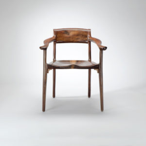 Front view of the Sumi Chair, our handmade low back arm chair