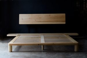Front view of of our handmade pine platform bed