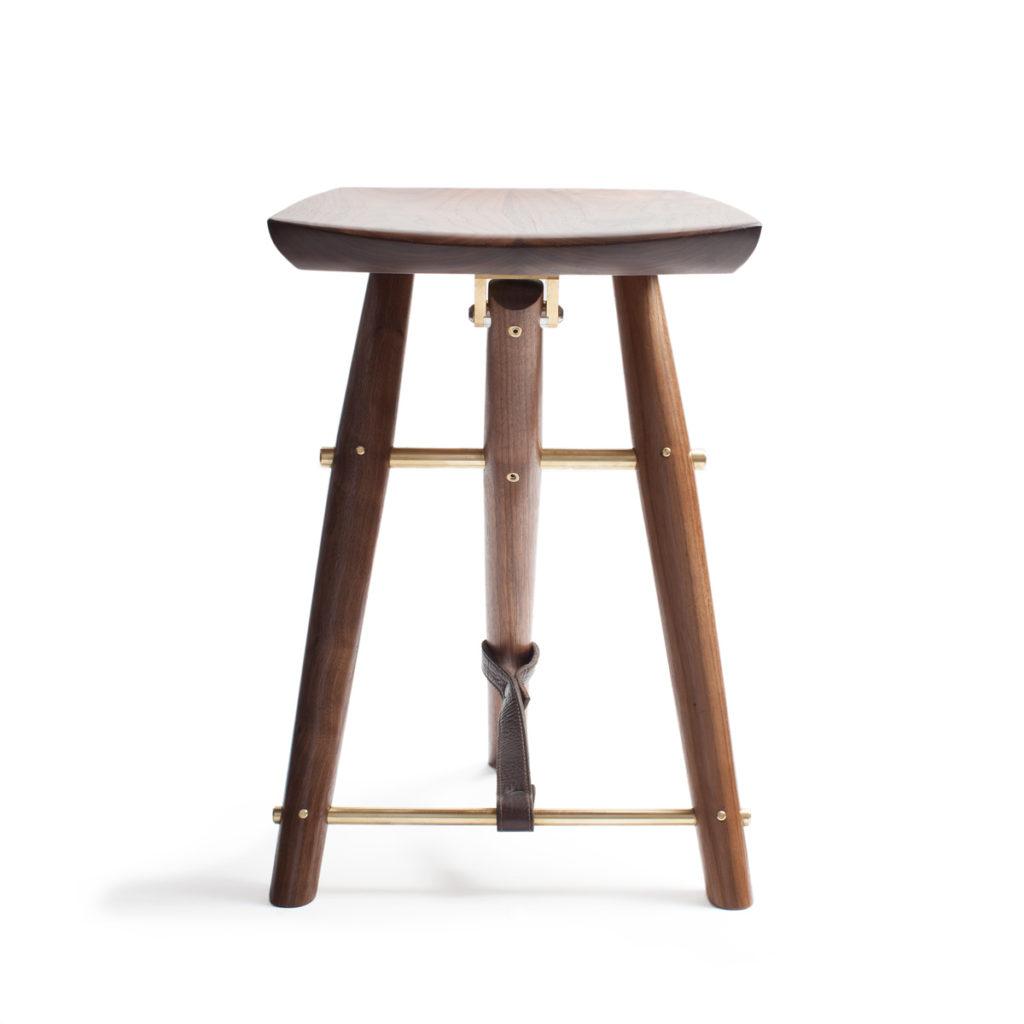 Rear view of the handmade Langhorne stool