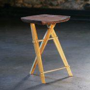 Handmade Langhorne Camp Stool made from black locust and claro walnut