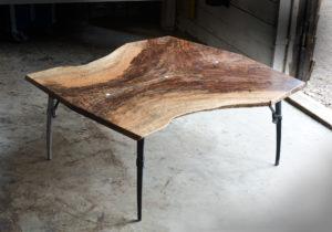 Custom handmade live edge coffee table w/ hand-forged iron base
