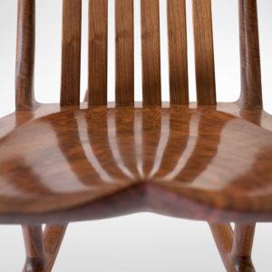 Hand-polished seat on the handmade South Yuba Rocking Chair