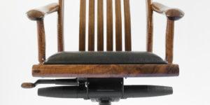 Custom movement & locking mechanisms on our handmade Niobrara Office Chair w/ hand-sewn custom upholstery