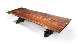 Our handmade Columnar Dining Table w/ custom basalt base