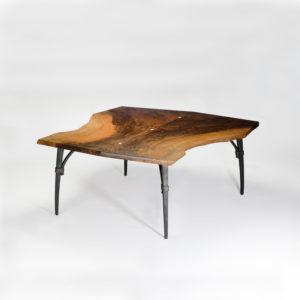 Custom live edge coffee table design w/ iron base
